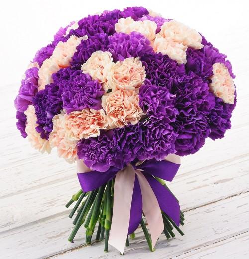 #112. Гвоздики фиолетово-розовые 59 шт