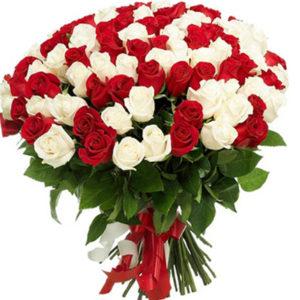 #121. Красно-белые розы 101шт
