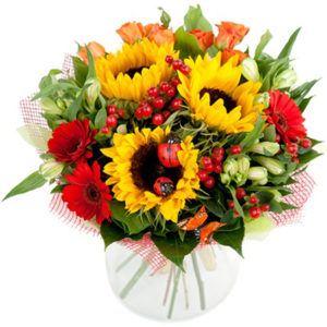 #079. Подсолнухи, герберы, роза кустовая