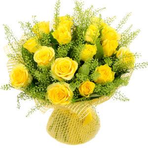 #085. Роза желтая 17 шт