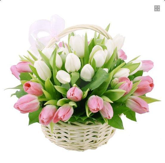 #036. корзина с тюльпанама