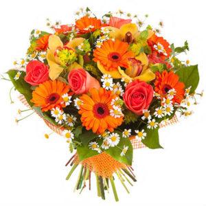 #090. Герберы, розы, орхидеи, камилла