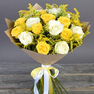 #094. Роза белая/желтая 21шт