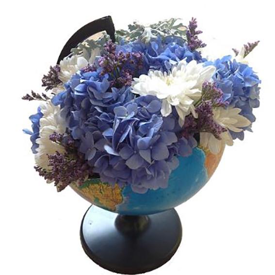 #099. Глобус цветочный с гортензиями