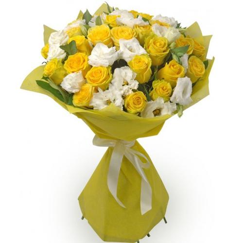 #233. Розы желтые 25шт, лизиантус