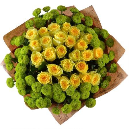 #191. Розы желтые 25 шт, хризантемы филигрин