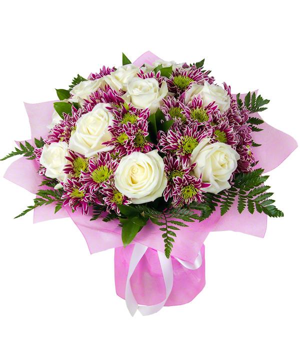 Букет из английских роз и хризантем купить, цветов корзине рисунок