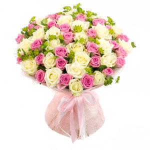 #225. Розы бело-розовые 51 шт в упаковке