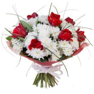 #164. Хризантемы и тюльпаны