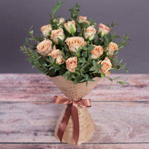 #172. Роза 15 шт, эвкалипт