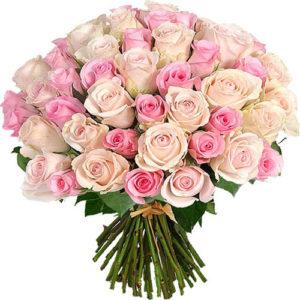 #158. Розы розовые микс 55 шт