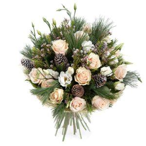 # 258 Букет из роз, лизиантуса, сосны