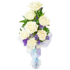 #296 Розы белые 7шт, русскус, статице