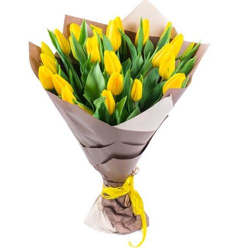 #311 27 тюльпанов в крафте