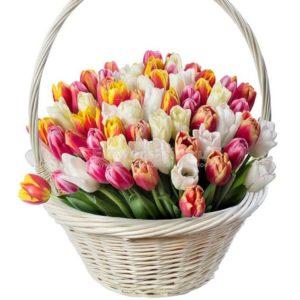 # 396  корзина с тюльпанами 39шт