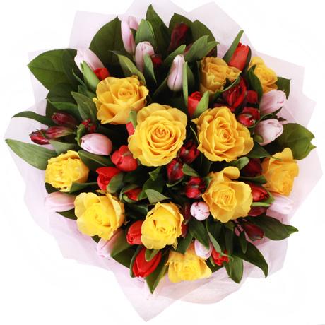 #408 Букет из тюльпанов и желтых роз