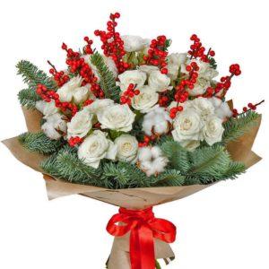 #469 Букет из кустовых роз с нобилисом и иликсом