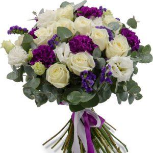#187. Розы, гвоздики, лизиантус