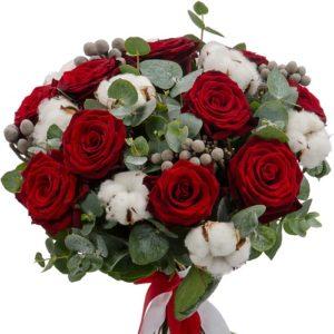 #232. Розы красные, хлопок, эвкалипт