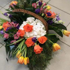 #502 корзина с тюльпанами и гортензией
