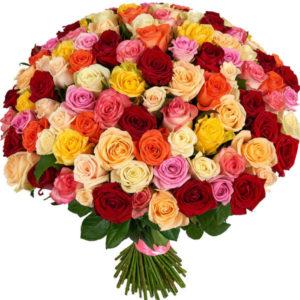 #123. Разноцветные розы 101шт