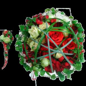 #131. Розы красные/белые, гиперикум