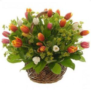 #037. корзина с тюльпанами