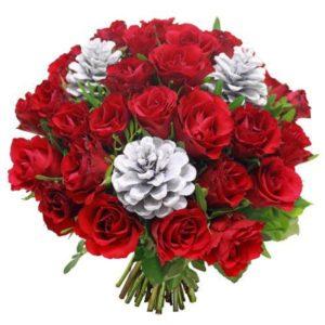 #224. Розы красные 25 шт, шишки
