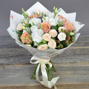 #095. Роза кустовая капучино, эустома