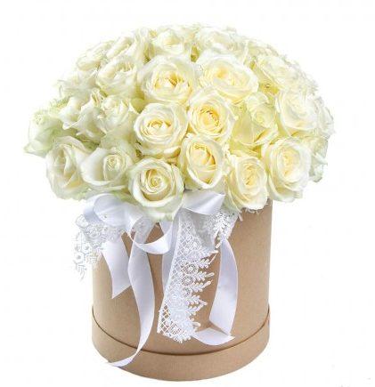 #291 Розы белые в коробке 51шт