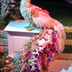 #405 Павлин из живых цветов