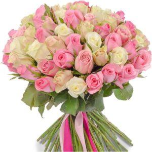 #159. Розы розовые микс 55 шт