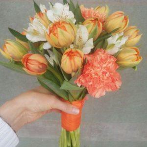 #162. Букет из тюльпанов, гвоздик, альстромерий